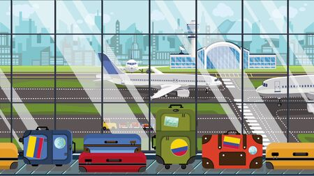 Suitcases with Colombian flag stickers on baggage carousel in airport. Tourism in Colombia conceptual illustration