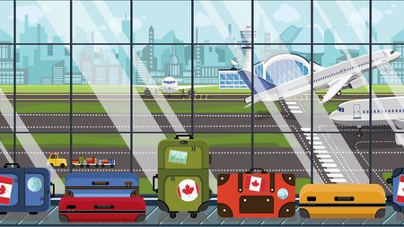 Suitcases with Canada flag stickers on baggage carousel in airport. Canadian tourism related illustration Stock Photo