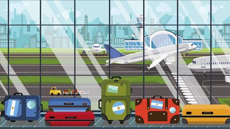 Suitcases with Argentinean flag stickers on baggage carousel in airport. Travel to Argentina conceptual illustration