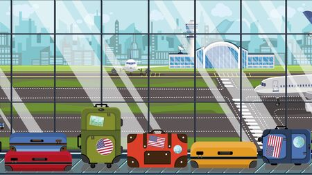 Luggage with American flag stickers on baggage carousel in airport. USA tourism conceptual illustration