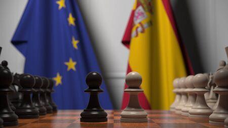 Drapeaux de l'UE et de l'Espagne derrière l'échiquier. Le premier pion se déplace au début de la partie. Rendu 3D conceptuel de rivalité politique