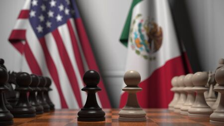 Flags of United States and Mexico behind chess board. The first pawn moves in the beginning of the game. Political rivalry conceptual 3D rendering