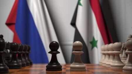 Flags of Russia and Syria behind chess board. The first pawn moves in the beginning of the game. Political rivalry conceptual 3D rendering