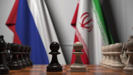 Flags of Russia and Iran behind chess board. The first pawn moves in the beginning of the game. Political rivalry conceptual 3D rendering