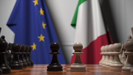 Flags of the EU and Italy behind chess board. The first pawn moves in the beginning of the game. Political rivalry conceptual 3D rendering