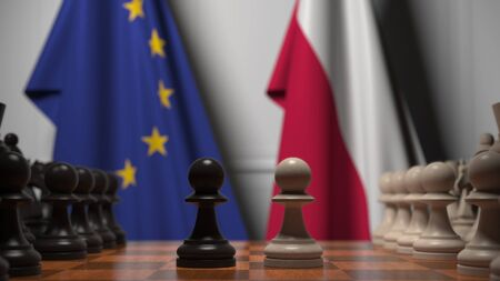 Flags of the EU and Poland behind chess board. The first pawn moves in the beginning of the game. Political rivalry conceptual 3D rendering
