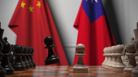 Flags of China and Taiwan behind chess board. The first pawn moves in the beginning of the game. Political rivalry conceptual 3D rendering