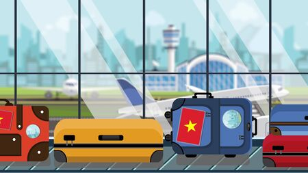 Suitcases with Vietnamese flag stickers on baggage carousel in airport, close-up. Tourism in Vietnam related illustration