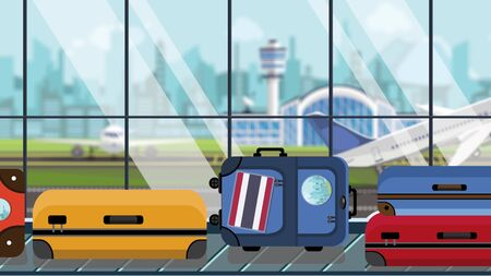 Suitcases with Thai flag stickers on baggage carousel in airport, close-up. Tourism in Thailand related illustration