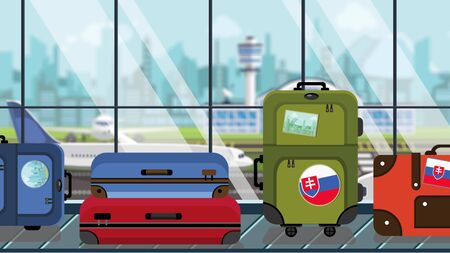 Baggage with Slovak flag stickers on carousel in airport, close-up. Travel to Slovakia related illustration