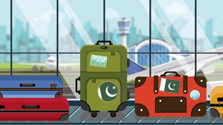 Baggage with Pakistani flag stickers on carousel in airport, close-up. Tourism in Pakistan related illustration Imagens