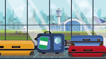 Suitcases with Nigerian flag stickers on baggage carousel in airport, close-up. Travel to Nigeria related illustration