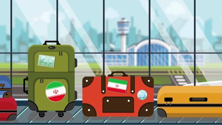 Suitcases with Iranian flag stickers on baggage carousel in airport, close-up. Travel to Iran related illustration