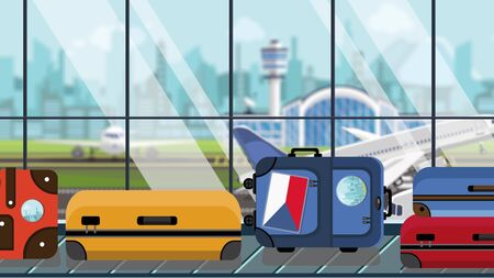 Suitcases with Czech flag stickers on baggage carousel in airport, close-up. Tourism in the Czech Republic related illustration