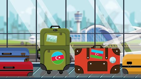 Suitcases with Azerbaijani flag stickers on baggage carousel in airport, close-up. Travel to Azerbaijan related illustration