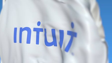 Waving flag with Intuit logo, close-up. Editorial 3D rendering