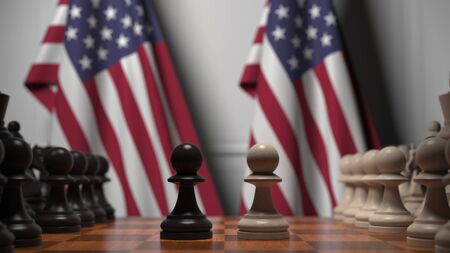 Flags of the USA behind chess board. The first pawn moves in the beginning of the game. Political rivalry conceptual 3D rendering