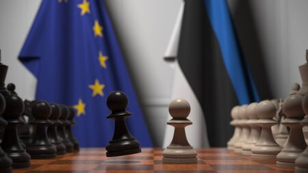 Flags of the EU and Estonia behind chess board. The first pawn moves in the beginning of the game. Political rivalry conceptual 3D rendering
