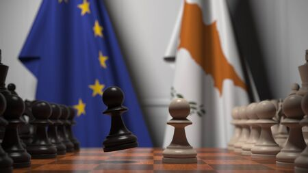 Flags of the EU and Cyprus behind chess board. The first pawn moves in the beginning of the game. Political rivalry conceptual 3D rendering