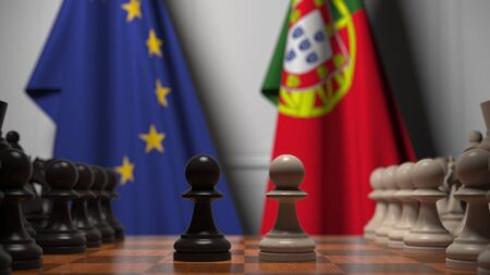 Flags of the EU and Portugal behind chess board. The first pawn moves in the beginning of the game. Political rivalry conceptual 3D rendering