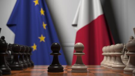 Flags of the EU and Malta behind chess board. The first pawn moves in the beginning of the game. Political rivalry conceptual 3D rendering