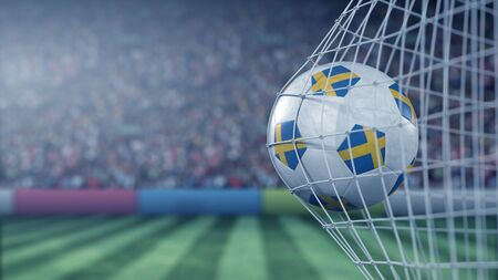 Flag of Sweden on the ball in football net. Conceptual 3D rendering