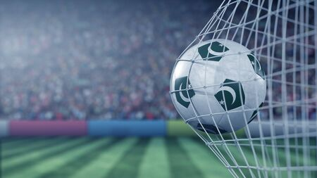 Flag of Pakistan on the ball in football net. Conceptual 3D rendering Imagens