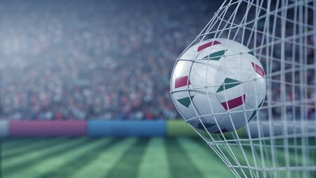 Flag of Hungary on the football hitting goal net back. Realistic 3D rendering 版權商用圖片