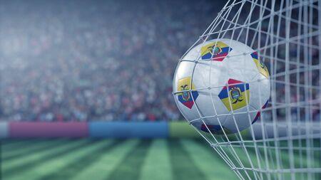 Flag of Ecuador on the football hitting goal net back. Realistic 3D rendering