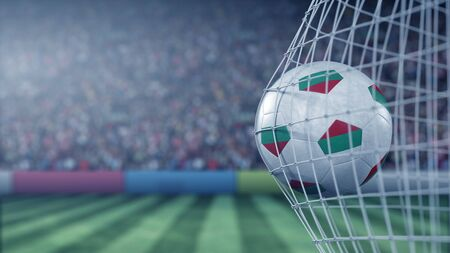 Flag of Bulgaria on the football hitting goal net back. Realistic 3D rendering