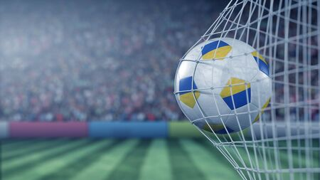Flag of Ukraine on the ball in football net. Conceptual 3D rendering Фото со стока