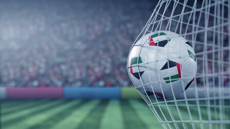 Flag of the United Arab Emirates UAE on the ball in football net. Conceptual 3D rendering