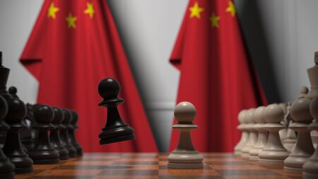 Flags of China behind chess board. The first pawn moves in the beginning of the game. Political rivalry conceptual 3D rendering