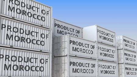 Containers with PRODUCT OF MOROCCO text. Moroccan import or export related 3D rendering