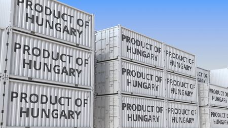 Containers with PRODUCT OF HUNGARY text. Hungarian import or export related 3D rendering