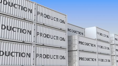Containers with PRODUCTION text. 3D rendering