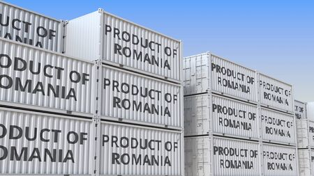 Containers with PRODUCT OF ROMANIA text in a container terminal, 3D rendering Stockfoto