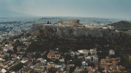 Aerial shot of ancient Acropolis, the main landmark of Athens and Greece