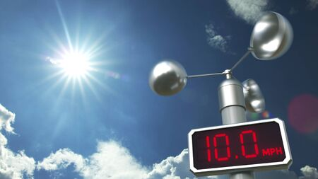 Wind speed measuring device anemometer displays 10 mph. Weather forecast related 3D rendering