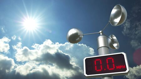Wind speed measuring device anemometer shows 0 mph. Weather forecast related 3D rendering Stock Photo