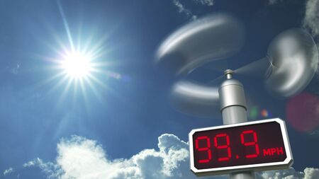 Digital anemometer displays maximum 99.9 mph wind speed. Hurricane forecast related 3D rendering Stock Photo