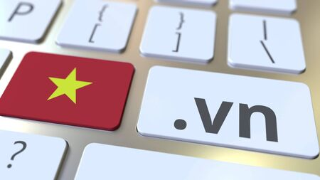 Vietnamese domain .vn and flag of Vietnam on the buttons on the computer keyboard. National internet related 3D rendering