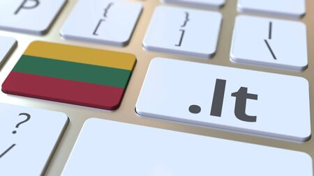 Lithuanian domain .lt and flag of Lithuania on the buttons on the computer keyboard. National internet related 3D rendering Reklamní fotografie