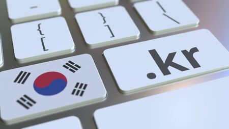 Korean domain .kr and flag of South Korea on the buttons on the computer keyboard. National internet related 3D rendering