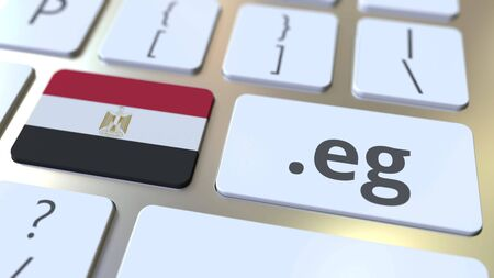 Egyptian domain .ru and flag of Egypt on the buttons on the computer keyboard. National internet related 3D rendering