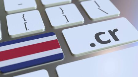 Domain .cr and flag of Costa Rica on the buttons on the computer keyboard. National internet related 3D rendering