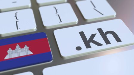 Domain and flag on the buttons on the computer keyboard. 3D Reklamní fotografie