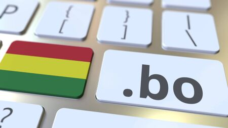 Bolivian domain .bo and flag of Bolivia on the buttons on the computer keyboard. National internet related 3D rendering