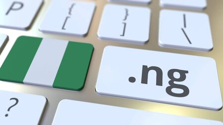 Nigerian domain .ng and flag of Nigeria on the buttons on the computer keyboard. National internet related 3D rendering 写真素材