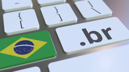 Brazilian domain .br and flag of Brazil on the buttons on the computer keyboard. National internet related 3D rendering